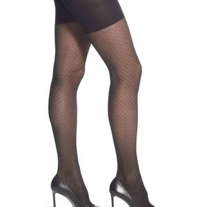 SPANX Mesh Diamond' Tights ~ Women's Sz B ~ Black